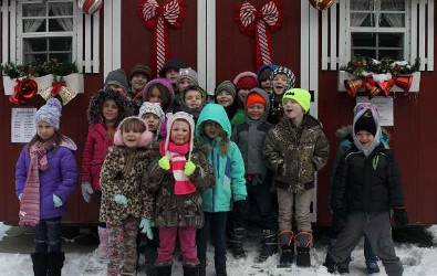 Students at the Santa house outside of the courthouse.