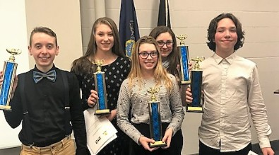 Brookville Junior Scholastic Challenge team poses with their third place trophies.