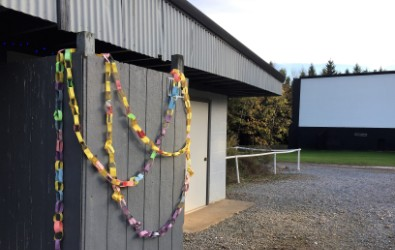 Decorations at free family movie night.