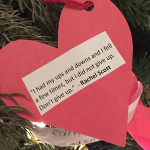 Ornament on Friends of Rachel Christmas tree.
