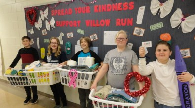 5th graders with kindness campaign donations.