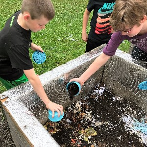 Students adding material to worm bins.