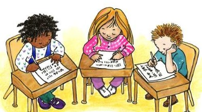 Students at desks clip art