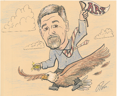 Hand drawn image of Principal, Mr. Brantz, holding a small gold bar that says 'Math' and an Arp flag while riding on the back of a flying eagle.