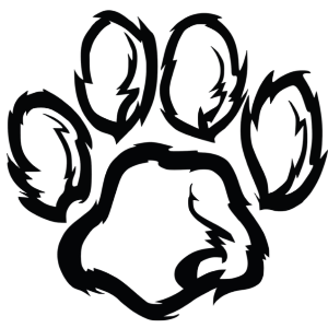 clip art of animal paw, black and white