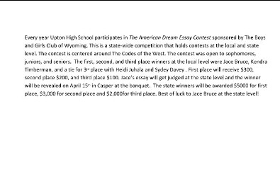 American Dream Essay Judges Blurb