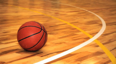Image of a basketball on the court