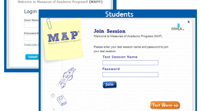 Image of the MAP student login screen