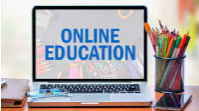 """image of laptop with """"Online Education"""" on screen"""