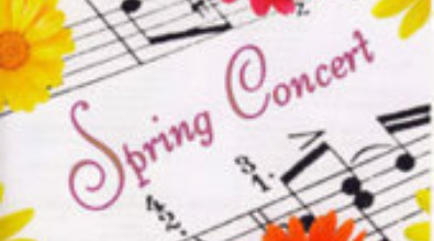"""image of music notes with flowers and """"spring concert"""" text"""