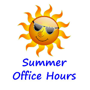 "Image of sun and text ""summer hours"""