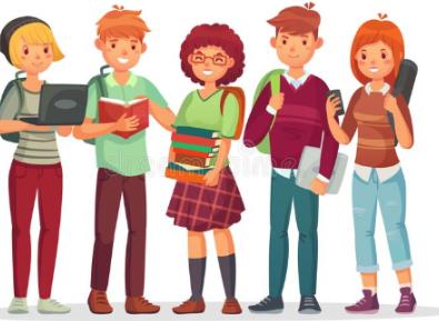 Cartoon image of teenagers
