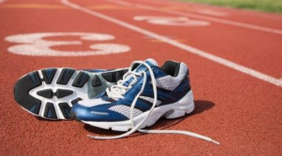 Image of running shoes on track