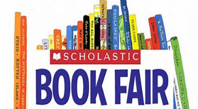 "Clip are of several books with the words ""Scholastic Book Fair"""