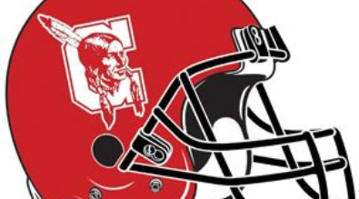Red football helmet with central high school logo