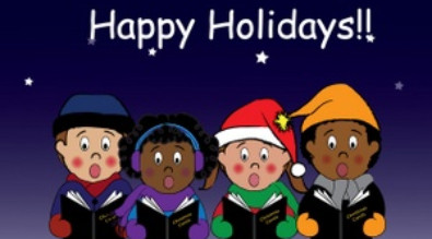 Clipart of kids singing. Reads Happy Holidays