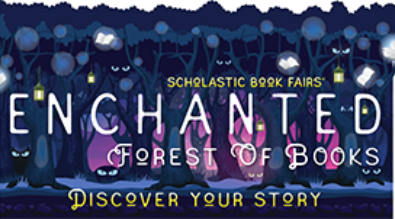 "picture of forest with text ""Enchanted Forest of Books."""
