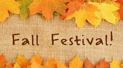 Leaves border burlap that reads Fall Festival