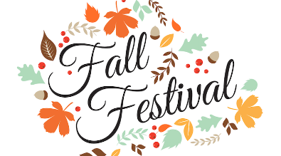"""Words reading """"Fall Festival"""" with clip art of leaves and acorns."""