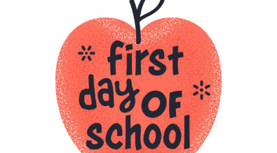 "Clipart of an apple with text reading ""First day of school."""