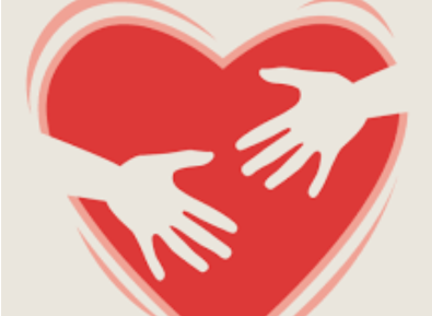 Clipart of a heart with two hands reaching across it.