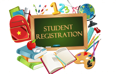 "Clip art of school supplies with a chalkboard that reads ""Student Registration""."