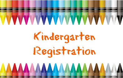 "Clipart of Crayons reading ""Kindergarten Registration."""