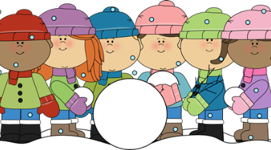 Clipart of students playing in snow