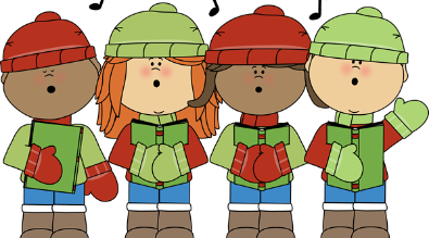 Clipart of Students Caroling