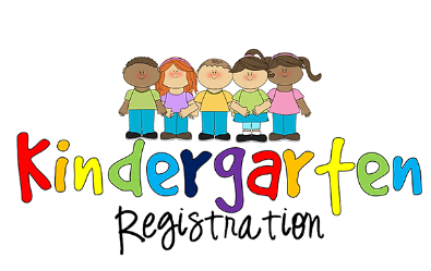 "Clipart of students with the text ""Kindergarten Registration"""