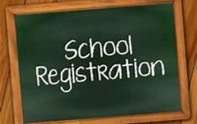 "Clipart of chalkboard with ""School Registration."""