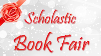 """Clipart reads """"Scholastic Book Fair"""" with red bow."""