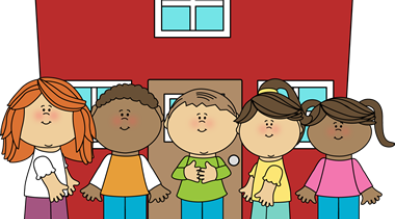 Clipart of Kids in front of school