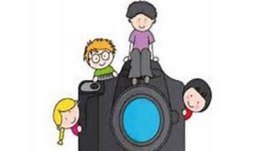 Clipart of camera with students