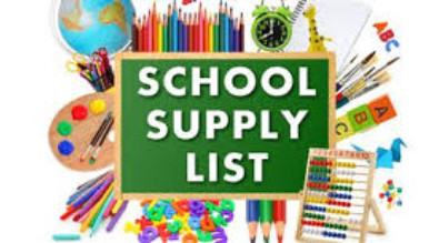 Image of school suppplies with a sign that says :School Supply List""