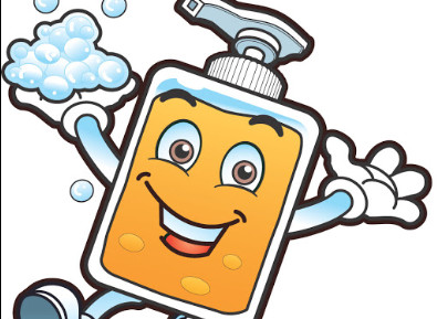 A cartoon soap bottle washing his hands.