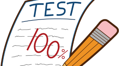 Image of test, pencil, and 100%