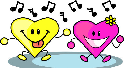 Image of two cartoon hearts dancing.