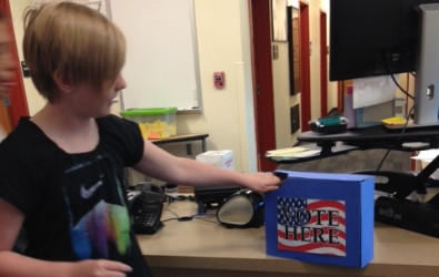 Picture of a student voting