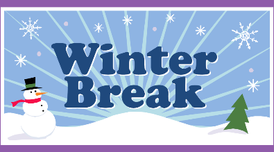 """Clipart of snowman and pinetree reads """"Winter Break"""""""