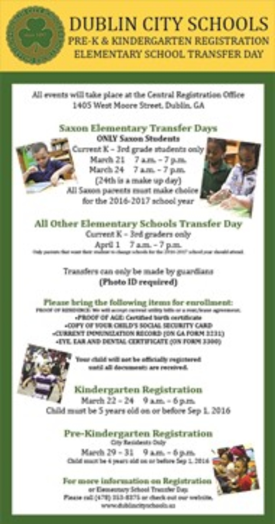 PRE-K & KINDERGARTEN REGISTRATION/ELEMENTARY TRANSFER DAY
