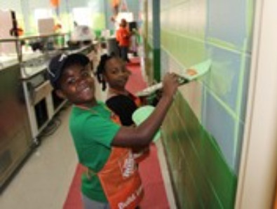 The Home Depot Paints Hillcrest's Cafeteria