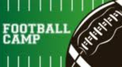 "This is a picture of a football and it say's ""Football Camp"""