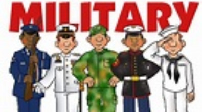 This is a picture with four different military uniforms. It say's Military.