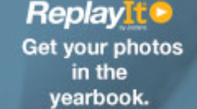 "This is a picture that say's, ""Replay it Get your photos in the yearbook"""