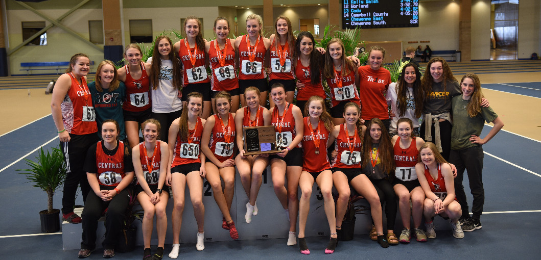 This is a picture of the girls indoor track team, they took 1st at the State meet.