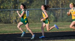 Cross country runners Savannah Lawson,Mikaela Georgiou and Rosie Gumm