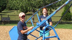 Curry School students working on playground at RRES