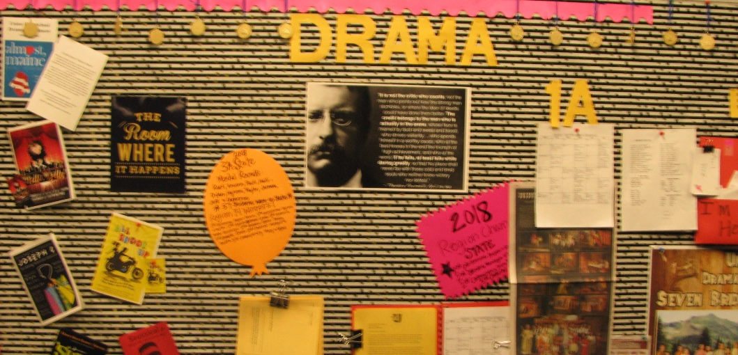 UHS Drama Department bulletin board