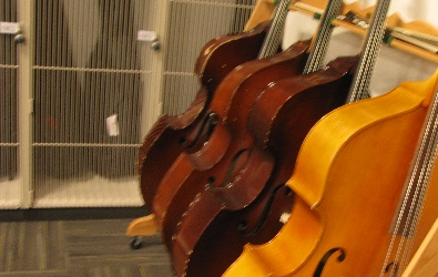 Cellos neatly stacked in the Band and Orchestra room.